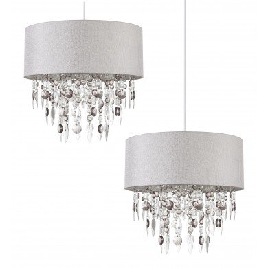 Pair of Large 40cm Easy Fit Shades in Grey with Acrylic Droplets