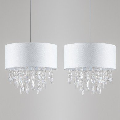Pair Large 40cm Easy Fit Shade Textured White Silver Fleck Acrylic Droplets