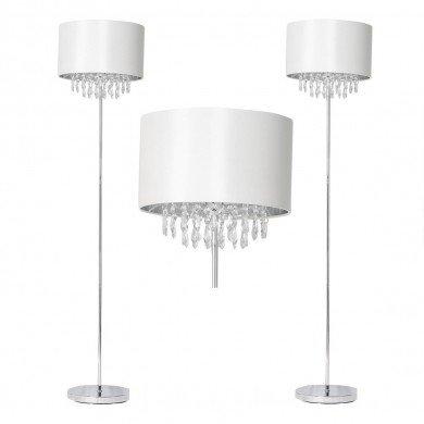 Pair of Cream Faux Silk Jewelled Floor Lamps
