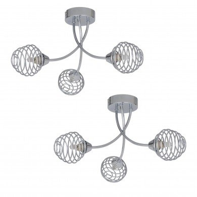 Pair of Polished Chrome 3 Light Fitting with Metal Spiral Shades