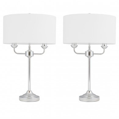 Pair of Polished Chrome Twin Arm Table Lamp with Cream Cotton Shades