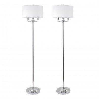 Pair of 3 Light Chrome Floor Standard Light with Light Cream Fabric Shade