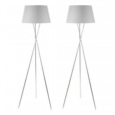 Pair Chrome Twist Tripod Floor Lamp with Grey Fabric Shade