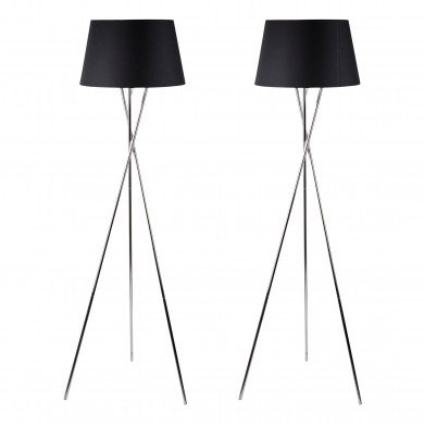 Pair Chrome Tripod Floor Lamp with Black Fabric Shade