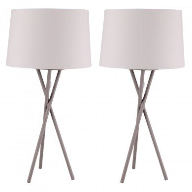 Pair Grey Tripod Table Lamp with White Fabric Shade