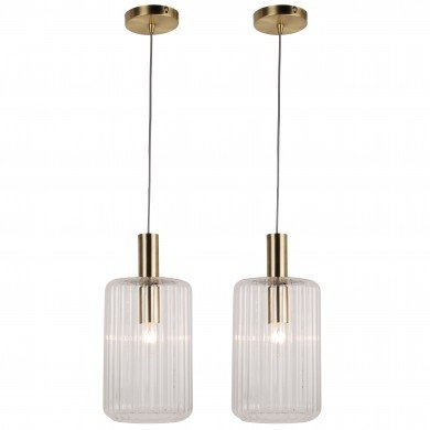 Set of 2 Fluted Glass Design Pendant Fitting Finished with Clear Glass and Bronze Effect Colour