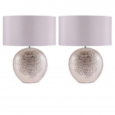Set of 2 Dimpled Oval Chrome Plated Ceramic Bedside Table Light Base with Grey Faux Silk Oval Fabric Shade