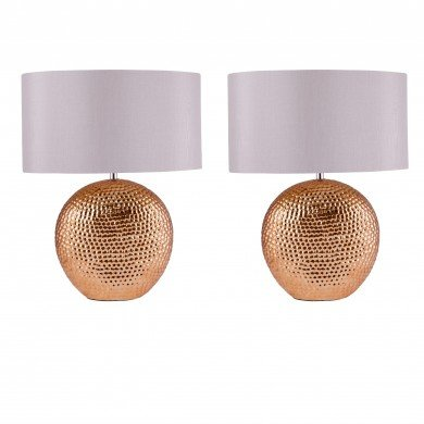 Set of 2 Dimpled Textured Oval Copper Plated Ceramic Bedside Table Light Base with Grey Faux Silk Oval Fabric Shade