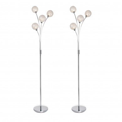 Set of 2 4 Light Chrome Plated Floor Standard Light with Jewelled Clear Beaded Shades