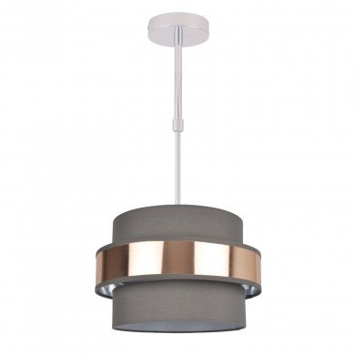 2 Tier Grey Fabric & Brushed Copper Plated Banded Ceiling Adjustable Flush Shade