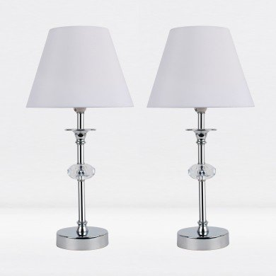 Set of 2 Chrome Plated Stacked Bedside Table Light with Faceted Acrylic Detailing and White Fabric Shade