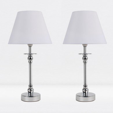 Set of 2 Chrome Plated Bedside Table Light with Detailed Column and White Fabric Shade