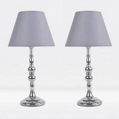 Set of 2 Chrome Plated Bedside Table Light with Detailed Column and Grey Fabric Shade