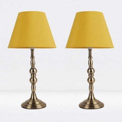 Set of 2 Antique Brass Plated Bedside Table Light with Detailed Column and Ochre Fabric Shade