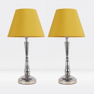 Set of 2 Chrome Plated Bedside Table Light with Detailed Column and Ochre Fabric Shade