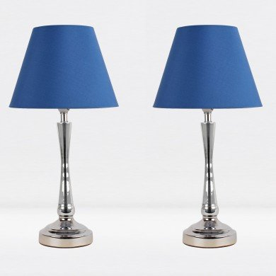 Set of 2 Chrome Plated Bedside Table Light with Detailed Column and Blue Fabric Shade