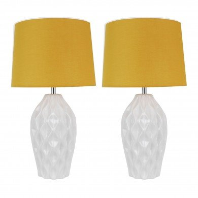 Set of 2 Textured White Gloss Glaze Ceramic Bedside Table Light with Ochre Textured Cotton Fabric Shade