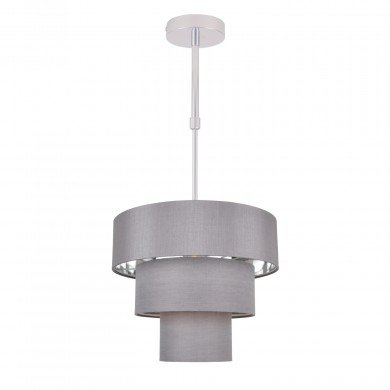 Staggered 3 Tier Grey Faux Silk Slub Fabric Ceiling Adjustable Flush Shade with Chrome Board Inner