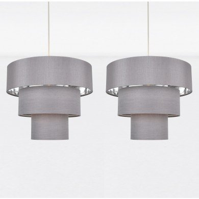 Set of 2 Easy Fit Staggered 3 Tier Grey Faux Silk Slub Fabric Shade with Chrome Board Inner