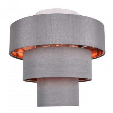Staggered 3 Tier Grey Faux Silk Slub Fabric Ceiling Flush Shade with Copper Board Inner