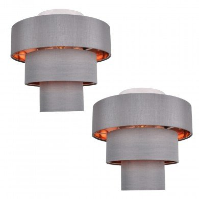 Set of 2 Staggered 3 Tier Grey Faux Silk Slub Fabric Ceiling Flush Shade with Copper Board Inner