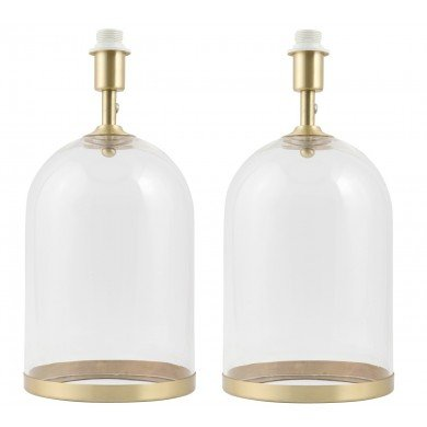 Pair of Large Satin Brass and Glass Cloche Table Lamp Bases