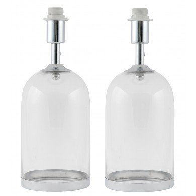 Pair of Chrome and Glass Cloche Design Table Lamp Bases