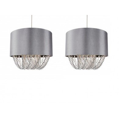 Set of 2 Grey Fabric Non Electric Pendant With Beaded Diffuser