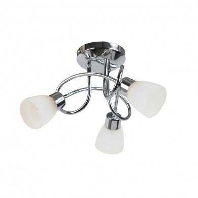 Chrome and Opal Glass 3 Light Ceiling Fitting