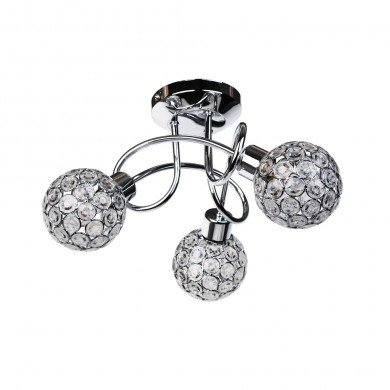 Chrome 3 Light Ceiling Fitting with Jewelled Shades