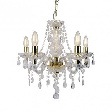 Clear and Gold Marie Therese Style 5 x 40W Chandelier