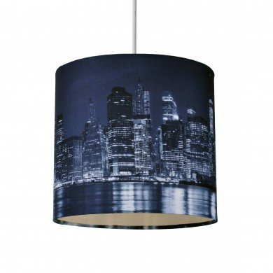 20cm Lamp Shade Ceiling Light Digital Printed Fabric New York Skyline At Night