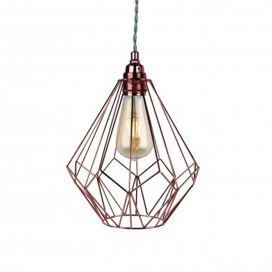 Copper Wire Geometric Non Electrified Cage Pendant (Shade Only)