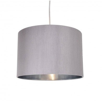 Grey Faux Silk 30cm Drum Light Shade with Chrome Inner