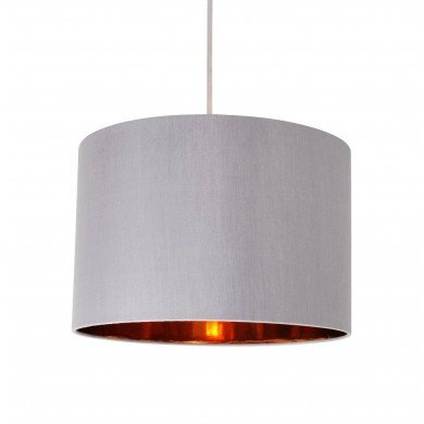 Grey Faux Silk 30cm Drum Light Shade with Copper Inner