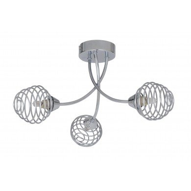 Polished Chrome 3 Light Fitting with Metal Spiral Shades