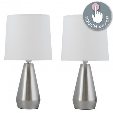 Set of Two Brushed Chrome Touch Lamps with Ivory Shades