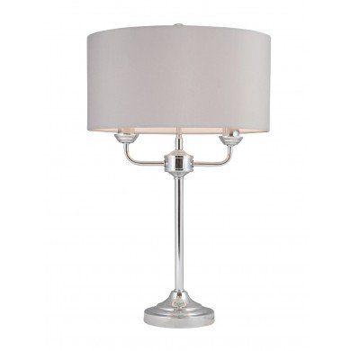 Polished Chrome Twin Arm Table Lamp with Grey Cotton Shade