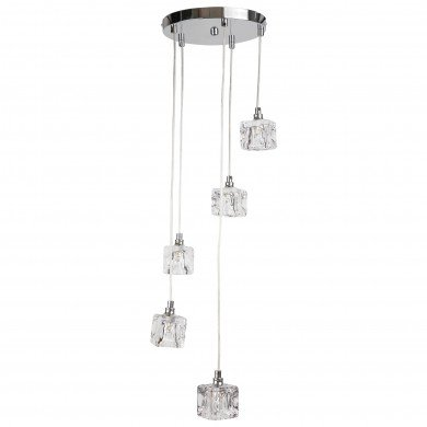 Chrome 5 Light Cluster Fitting with Ice Cube Glass Shades