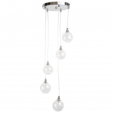 Chrome 5 Light Cluster Fitting with Glass Globe Shades
