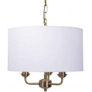 3 Light Antique Brass Pendant Chandelier with Light Cream Fabric Shade