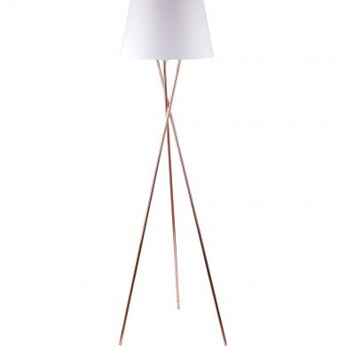 Copper Tripod Floor Lamp with White Fabric Shade
