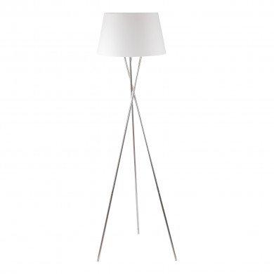 Chrome Twist Tripod Floor Lamp with White Fabric Shade