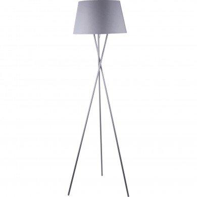 Grey Tripod Floor Lamp with Grey Fabric Shade