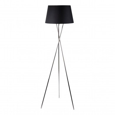 Chrome Tripod Floor Lamp with Black Fabric Shade