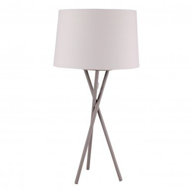 Grey Tripod Table Lamp with White Fabric Shade