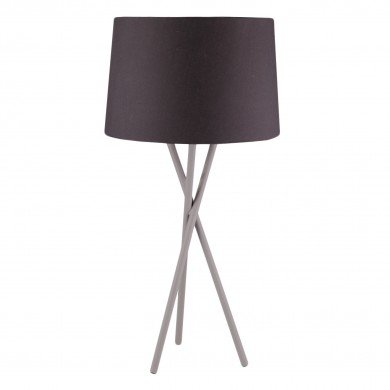 Grey Tripod Table Lamp with Black Fabric Shade