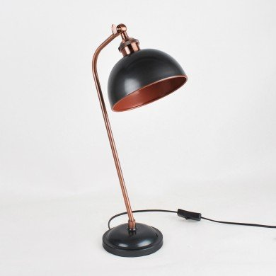 Antique Style Task Lamp in Industrial Nickel Painted Finish with Antique Copper Detail
