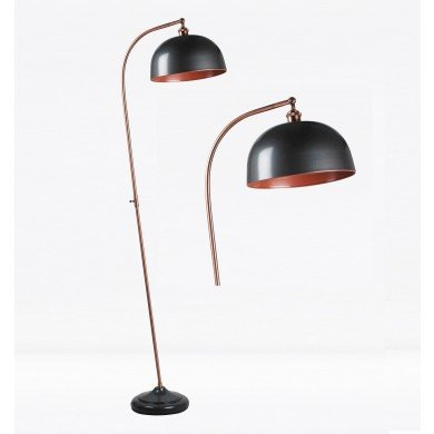 Antique Style Floor Lamp in Industrial Nickel Painted Finish with Antique Copper Detail