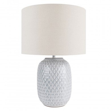 Reactive Glazed Textured Grey Ceramic Table Light with Natural Linen Cylinder Fabric Shade